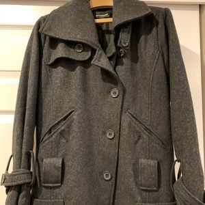 Coffeeshop Wool Charcoal Grey Peacoat